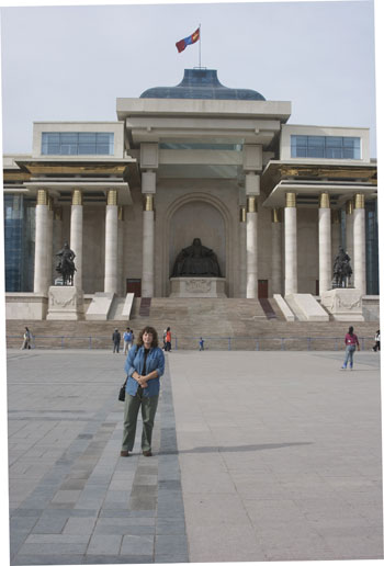 In front of the Chinggis Khan memorial, Sukhbaatar Square, Ulaanbaatar