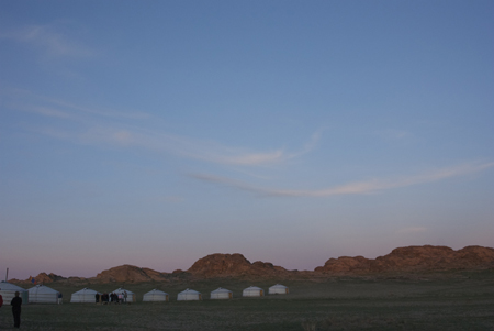 Sunset over the ger camp