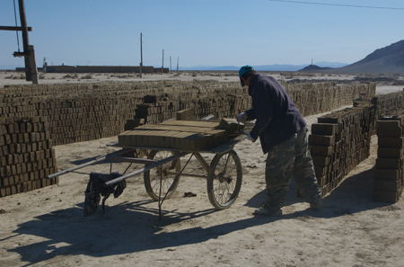 Moving bricks to the kiln, western Mongolia