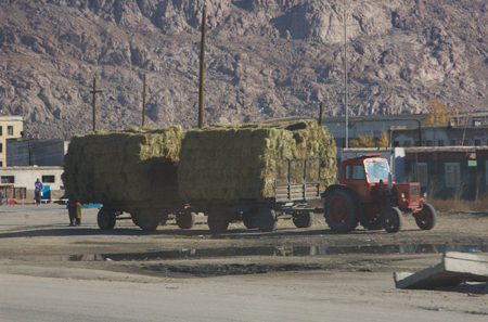Tractor with hay, Hovd, western Mongolia