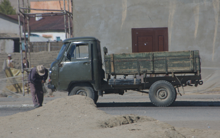 Truck with handcrank starter, Hovd, western Mongolia