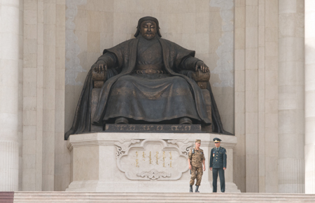 Statue of Chinggis Khan, Government House, Ulaanbaatar 2008