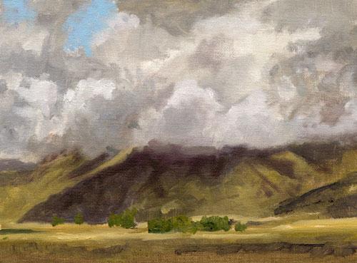 """Clouds Along Goodall's Cutoff, Idaho  oil 6""""x8"""""""