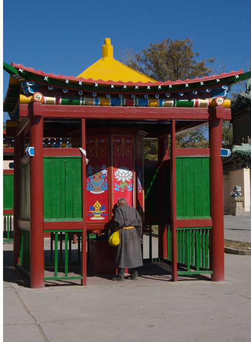Large prayer wheel at Gandan Monastery, Sept. 2006
