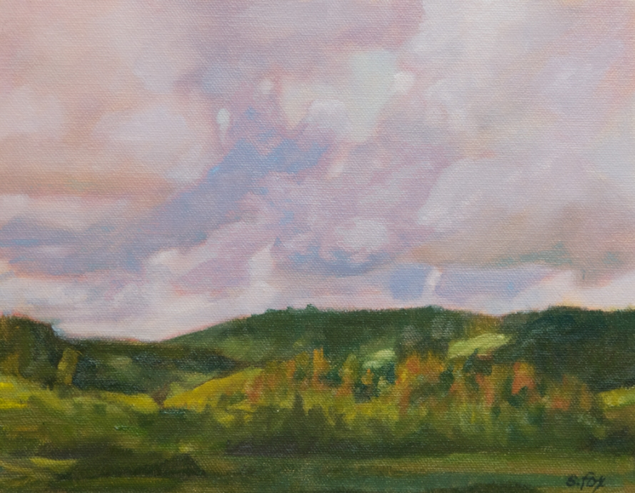 "Sunset, Dry Lagoon, Humboldt County, oil on canvasboard, 8""x10"""