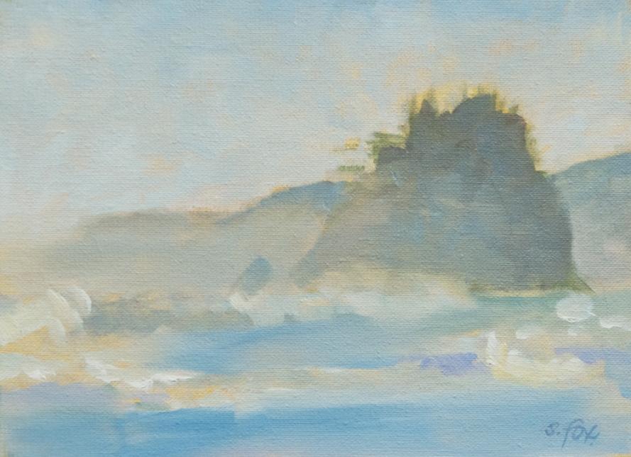 "Trinidad Mist, Humboldt County, oil on canvasboard, 6""x8"""