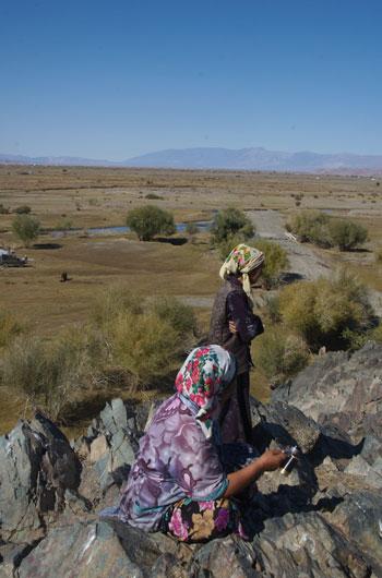 Kazakh women outside of Hovd