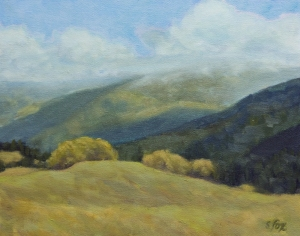 Coast Range, Humboldt County  oil on canvasboard 8x10