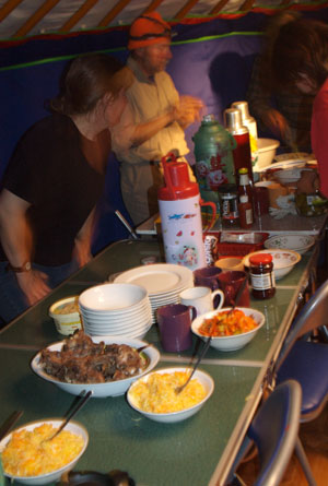 Mongolian BBQ during the Earthwatch project, 2005
