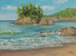 Trinidad Beach 6x8 oil on canvasboard