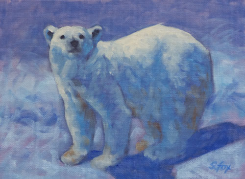 "Polar Bear 6x8"" oil on canvasboard"