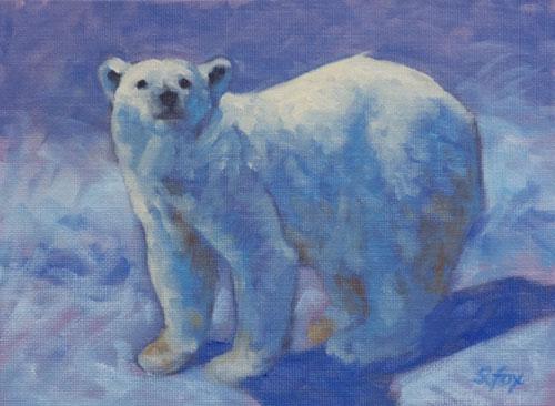 """Polar Bear 6x8"""" oil on canvasboard"""