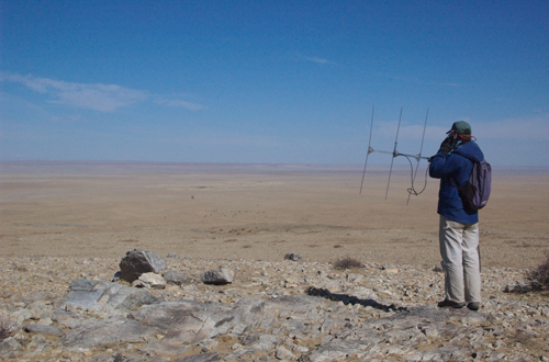 Jed Murdoch searching for a collared Pallas Cat; he never got a signal and the cat had vanished, April 2005
