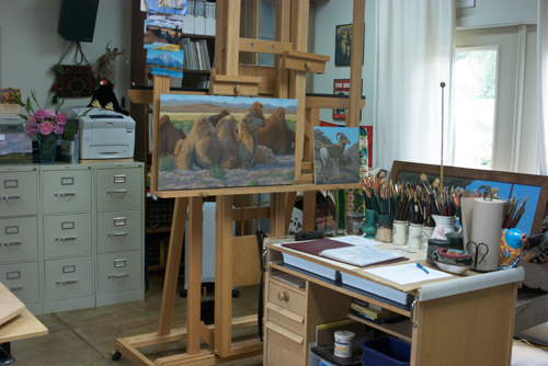 Easel and painting table