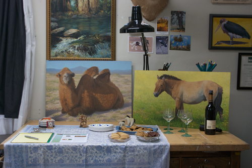 The refreshment table with a couple of recent paintings
