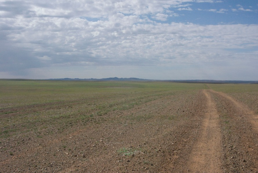 Earth road on the steppe