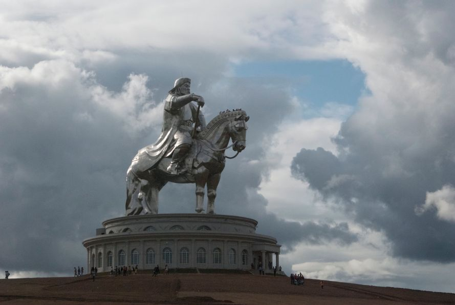 Giant Chinggis Khan statue facing towards his birthplace to the east