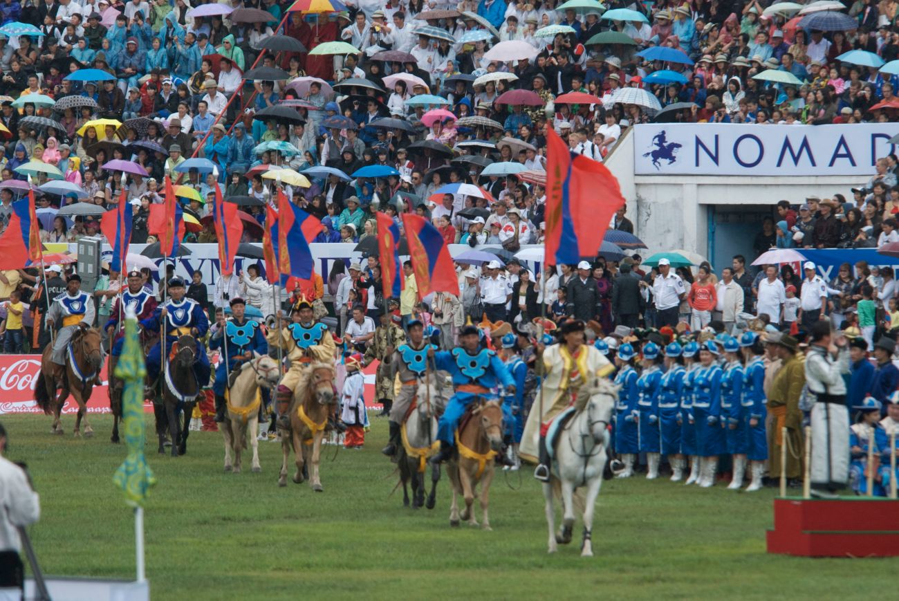 Procession of Mongol national flags