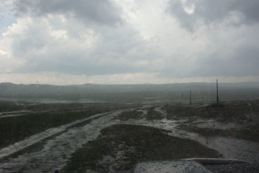 Road after hailstorm; the direction we were heading