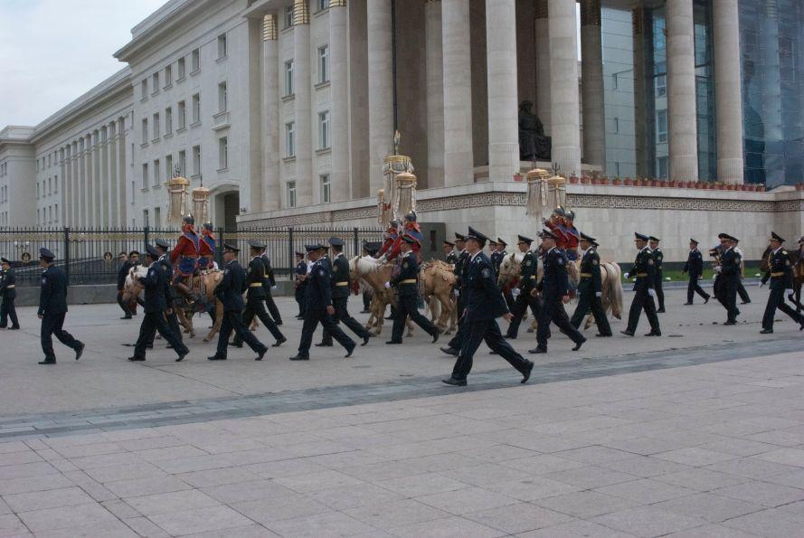 Yak tail standards proceeding around Suhkbaatar Square