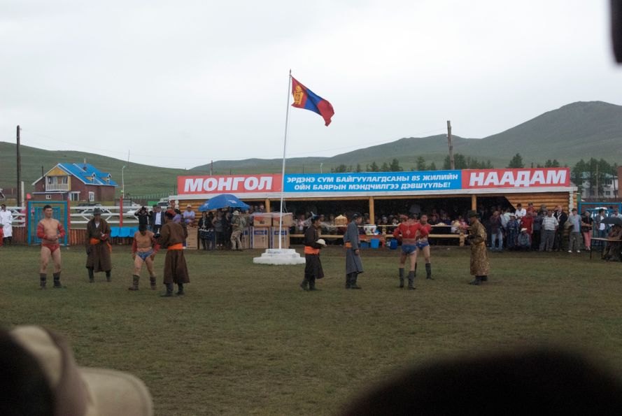 Local Naadam stadium with wrestling