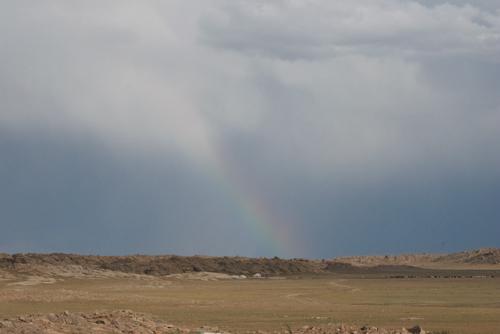 Rainbow over ger, Baga Gazriin Chuluu Nature Reserve