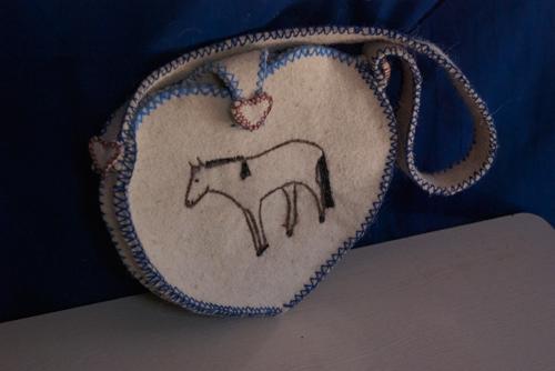 Felt purse with horse motif