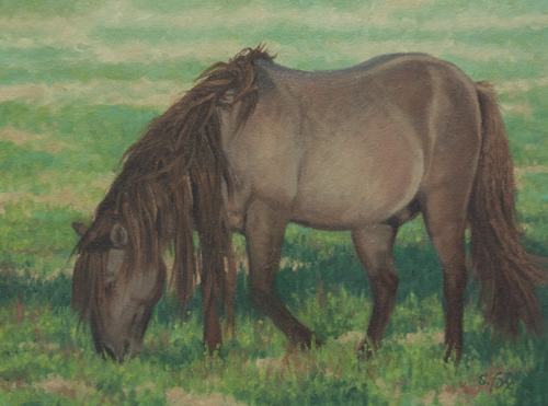 "Mongol Horse #4; Afternoon Graze  9x12"" oil on canvasboard"