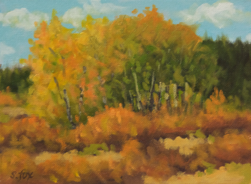 "Fall Aspens, Wyoming  8x6"" oil on canvasboard"