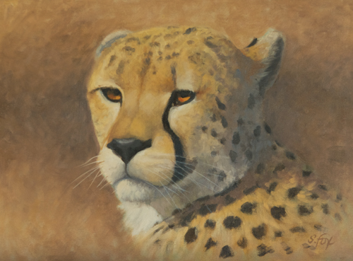"Cheetah  9x12"" oil on canvasboard"
