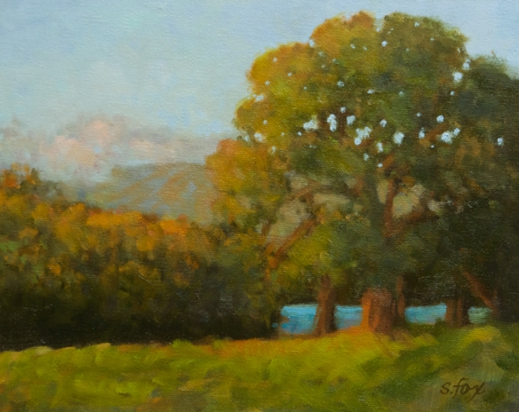 "Lake Cachuma Sundown 8x10"" oil on canvasboard-  $250"