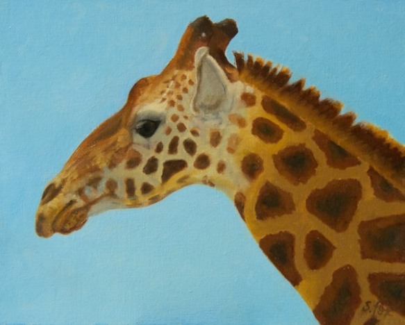 "Reticulated Giraffe 8x10"" oil on canvasboard"