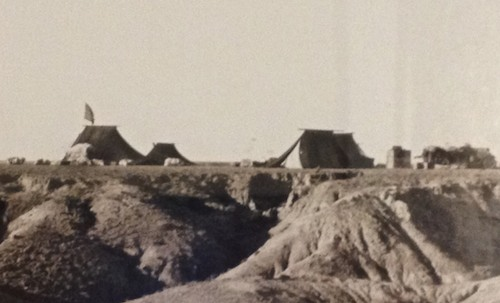 "Another photo from the cafe, this one showing the Expedition's camp. The tents are ""maikhan"" or summer tents, which are lighter and even more portable than the better known felt gers."