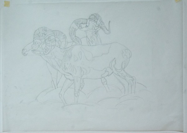 I put tracing paper over the drawing and did an outline only drawing to use for transferring the image to the canvas