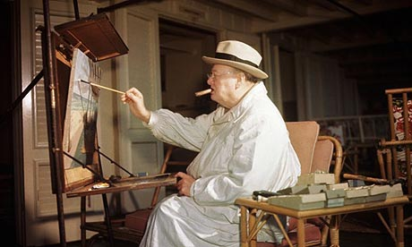 Churchill Painting at the Easel by