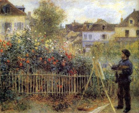 Claude Monet Painting in his Garden at Argenteuil by Renoir