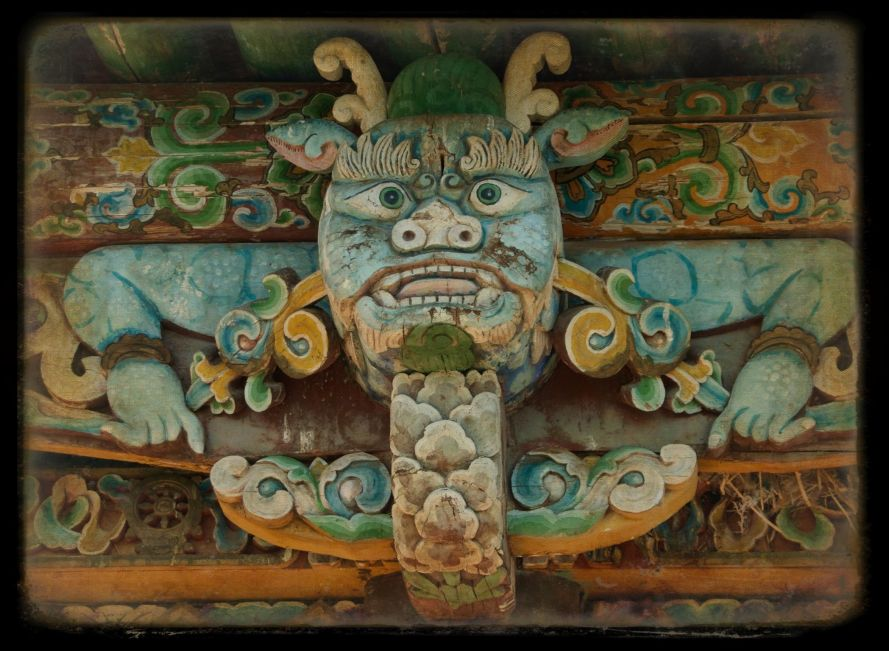 Decorative carving on old temple, Gachen Lama Khiid, Erdenesogt, Khangai Mountains, 2010