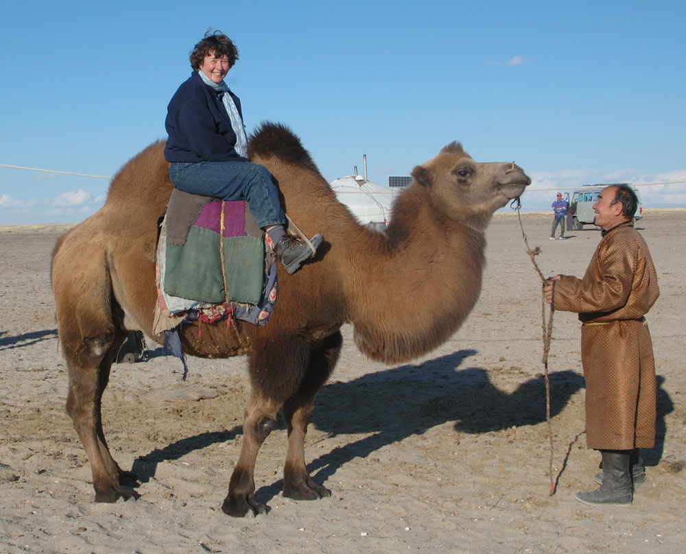 My first camel ride in Mongolia, September 2006. No, I didn't fall off.