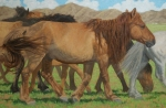 "Mongol Horse #7- Heading for Breakfast  oil  20x30"" $4200"