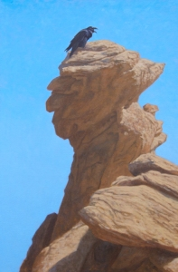 "Raven on Big Head Rock, Ikh Nart  oil  30x20"" I thought this was a great piece and was hoping that a big ""wow"" painting would turn the trick for first time acceptance. Uh, nope."