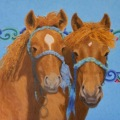 """""""Ready to Grow (Mongol Horse Foals"""" oil 14×18″"""