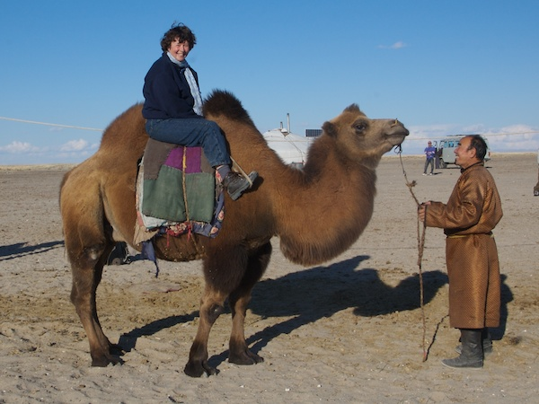 My first time on a Mongol bactrian camel. Western Mongolia, Sept. 2006