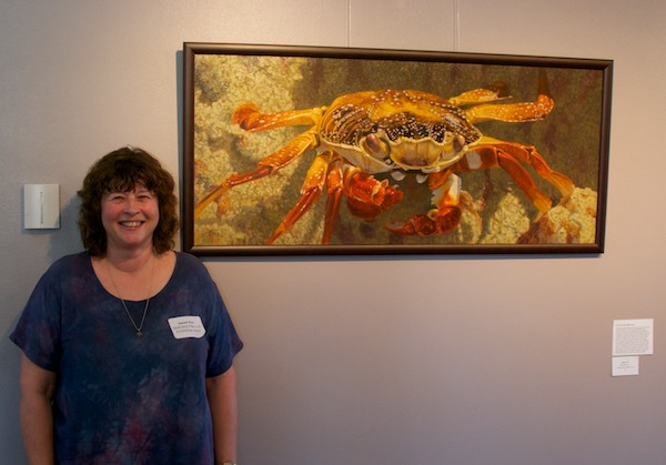 "Susan Fox with ""Up Close-Sally Lightfoot Crab"""