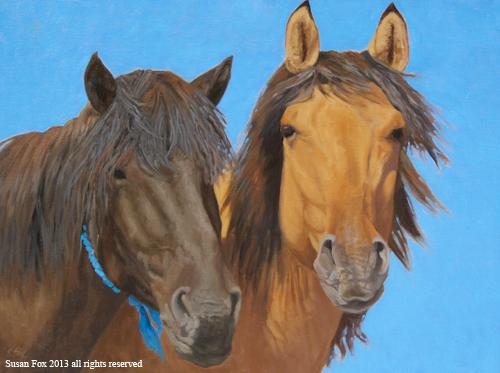 """Mongol Horse #9- Friends   18x24""""  oil"""