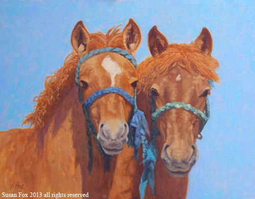 "Mongol Horse Foals: Ready to Grow  14x18""  oil"