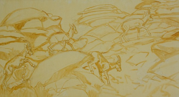 After doing a compositional drawing, I did a graphite transfer to the canvas and then re-stated the drawing with a brush
