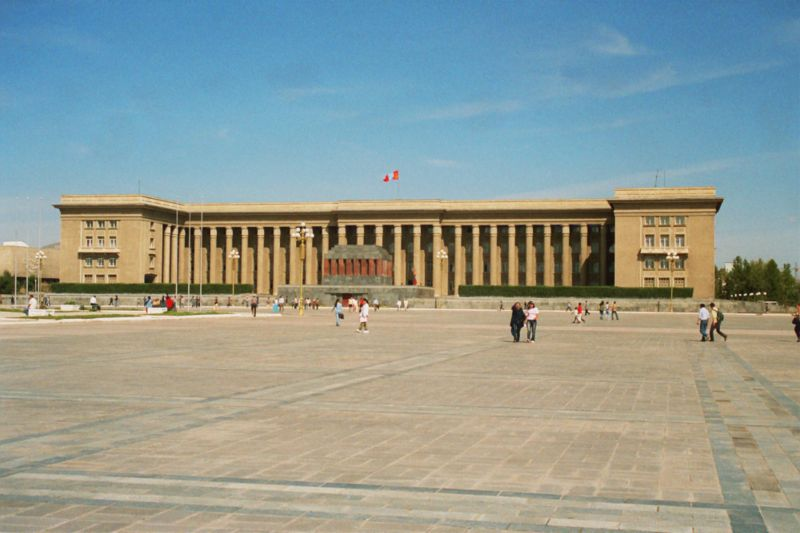 Old photo of the Parliament Building, Sukhbaatar Square