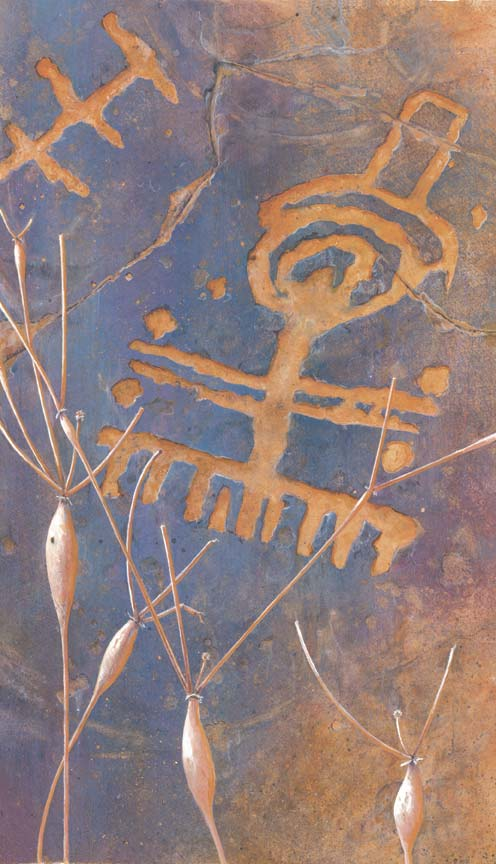 Ancient Whispers: Sloan Canyon Petroglyph Watercolor and Gouache on Arches