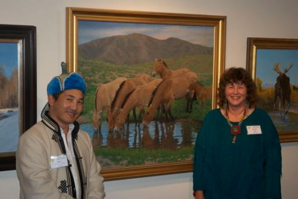 "Byambaa and I with my painting at the Society of Animal Artists ""Art and the Animal"" opening weekend last year"