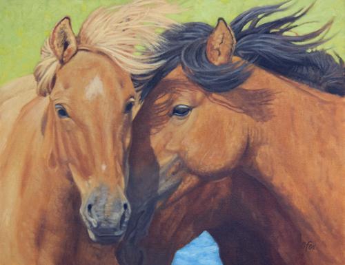 """Quiet Moment (Mongol Horses)""   14x18""  oil"